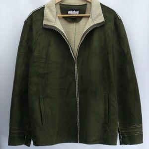 Unlisted Green Faux Suede & Sherling Coat Size XXL